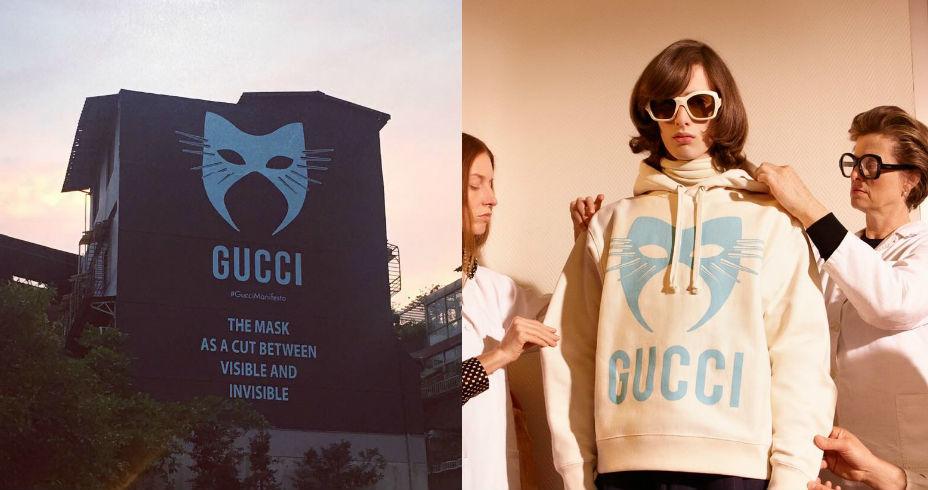 换上神秘猫脸面具 永康街Gucci艺术墙庆祝新系列上市
